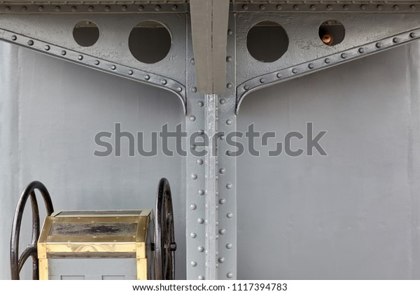 Closeup Details Deck Steam Warship Early Stock Photo (Edit