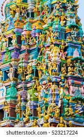 Closeup details on the tower of a Hindu Temple dedicated to Lord Shiva in Colombo, Sri Lanka.