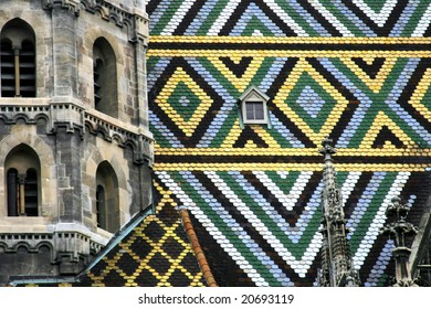 Close-up details of the St. Stephen Cathedral's roof,Vienna, Austria.
