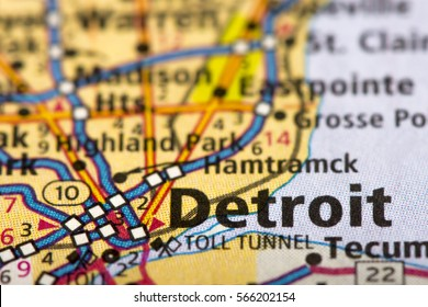Closeup of Detroit, Michigan on a road map of the United States.