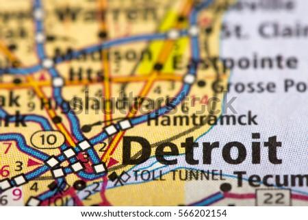 Closeup Detroit Michigan On Road Map Stock Photo (Edit Now ...