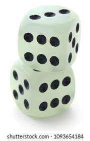 Closeup of dices over white background