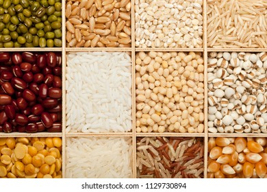Closeup of different types of grains and beans
