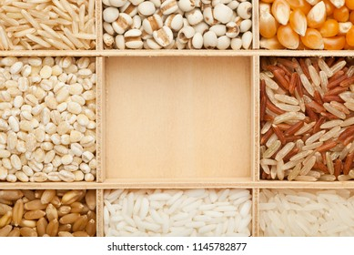 Closeup of different types of grains with copy space