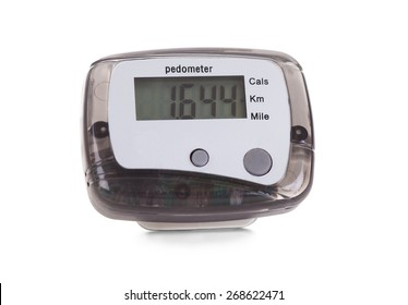 Close-up Of Digital Pedometer Isolated On White Background
