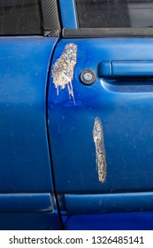 Close-up of dirty bird stain shit dropping on blue car door and window. Selective focus.