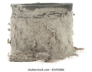 Closeup Of Dirty Vacuum Filter Isolated On White Background