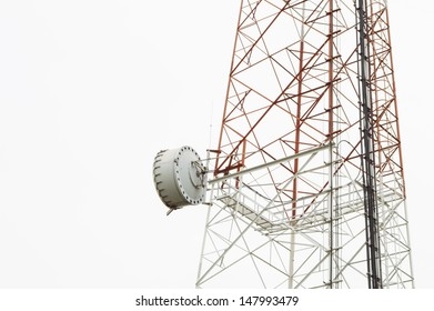 closeup dish on telecommunication tower with isolate white background