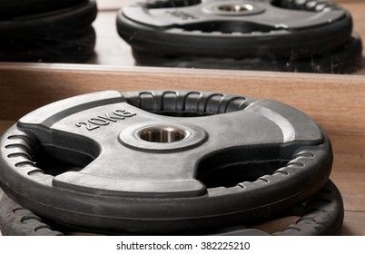 Close-up disk for dumbbells used in gym for weightlifing and exercising