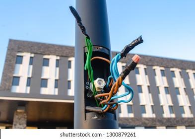 Broken Electric Pole Wire Images, Stock Photos & Vectors