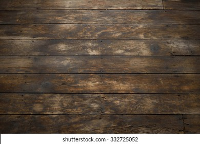 Closeup of Distressed Wood Plank Floor