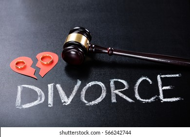 Close-up Of Divorce Concept With Wedding Ring And Gavel