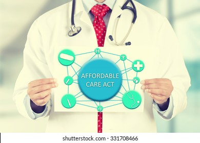 Closeup doctor hands holding white card sign with affordable care act text message isolated on hospital clinic office background. Retro instagram style filter image