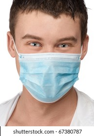 Closeup of a doctor with happy face wearing blue surgical mask against white background
