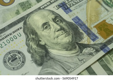 Closeup dollar banknotes money