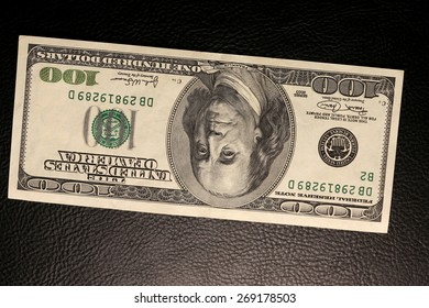 close-up of dollar bills on black background studio