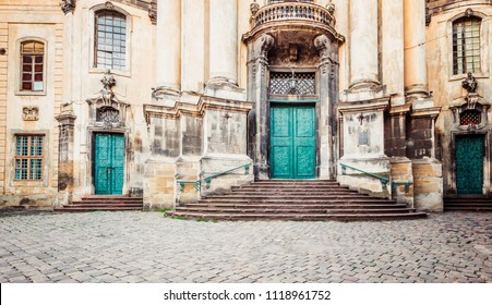 Closeup of Dominican Church in Lviv