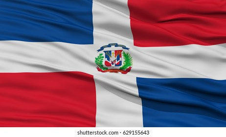 Closeup Dominican Republic Flag, Waving in the Wind, 3D Rendering