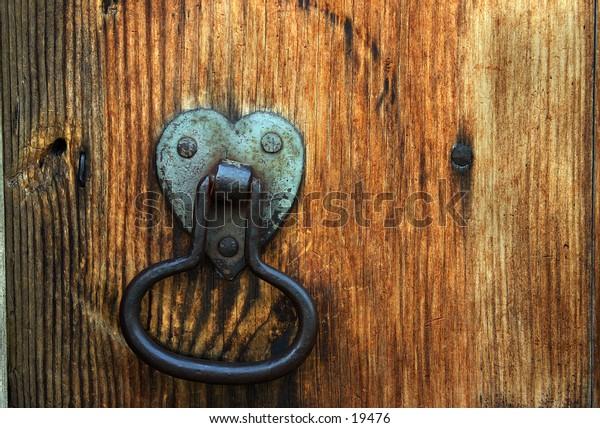 Closeup of door hardware