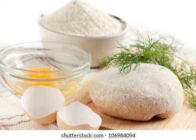 Close-up dough, flour and bran, healthy eating