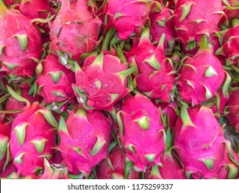 Closeup of dragonfruit offered for sale.