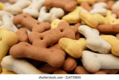 Close-up of dried dog food, with brown biscuit in selective focus