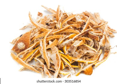 Closeup of dried lemon citrus peel