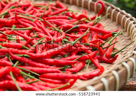 Closeup Drying Red Chili Peppers Thai Stock Photo Edit Now