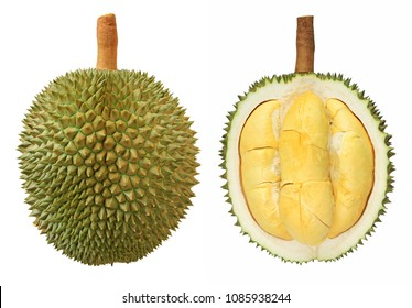 Closeup of durian fruits isolated on white