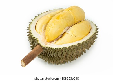 Closeup of durian fruits on white background