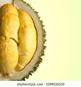 Closeup of durian fruits on yellow background