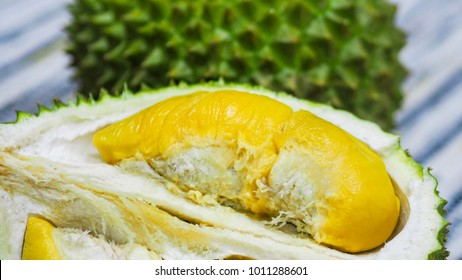 Closeup durian the king of fruit. Type of 'Musang King'.