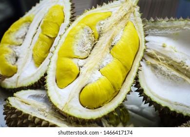 Closeup durian the king of fruit. Type of 'Musang King'.