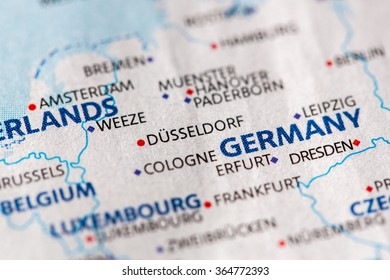 Closeup of Dusseldorf, Germany on a political map of Europe.