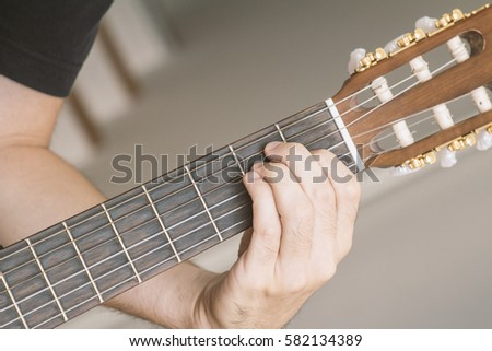 Closeup E Major Chord Played On Stock Photo Edit Now 582134389