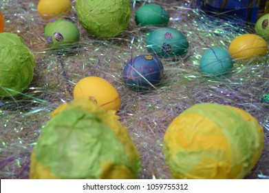 Closeup of Easter eggs decorated.
