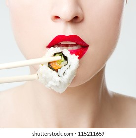 closeup of eating sushi