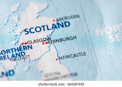 Closeup of Edinburgh, UK on a political map of Europe.