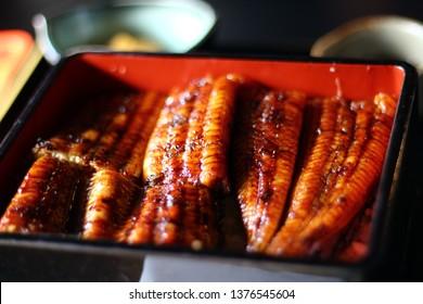 "Close-up of eel's dish ""UNAJU"""