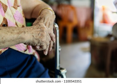 Closeup, Elderly female patient hand. medical and healthcare concept.