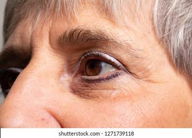 Closeup of elderly woman's face