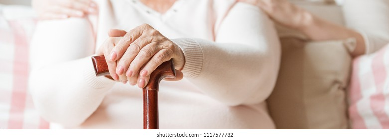 Close-up of an elderly woman's hands on a cane. Blurred background with upper torso of the senior with caretaker's arms around her shoulders. Panorama.