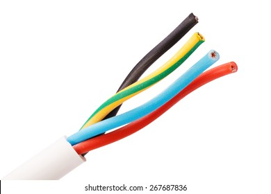 Closeup electric cable isolated on white
