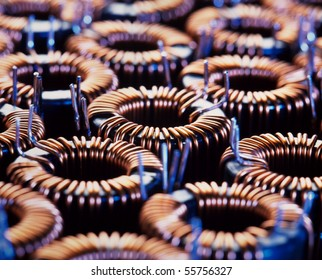 close-up of electric coil with little depth of field