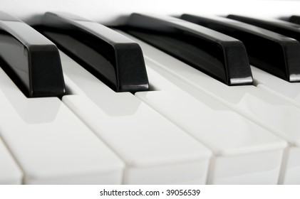 Close-up of electric piano keys.