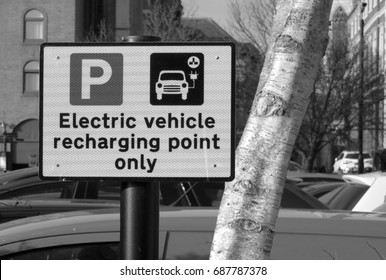 Closeup of Electric Vehicle Recharging Point sign