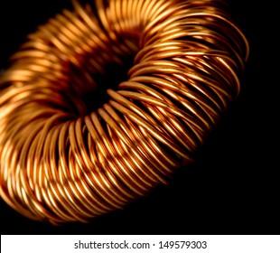 Closeup of electrical copper transformer
