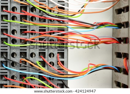 Surprising Closeup Electrical Distribution Board Connection Color Stock Photo Wiring 101 Cranwise Assnl