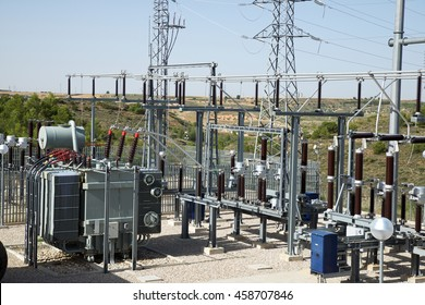 Closeup of an electrical substation, Toledo Province, Castilla La Mancha, Spain.