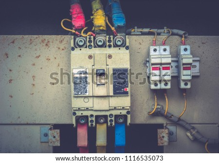 closeup electrical wiring fuses contactors 450w 1116535073 closeup electrical wiring fuses contactors control stock photo (edit